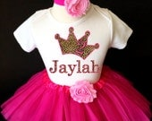 Cheetah Leopard Spots Print Crown Princess Hot Light Pink 2nd Second Girl Birthday Tutu Outfit Custom Personalized Name Age Party Shirt Set