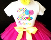 So Sweet to be Candy Candyland Lollipops Pink Rainbow 2nd Second Girl Birthday Tutu Outfit Custom Personalized Name Age Party Shirt Set