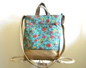 SALE Floral tote, messenger cross body bag - canvas hopsack, blue aqua  - eco vintage fabrics