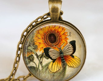 Butterfly sunflower pendant , butterfly vintage necklace , butterfly jewelry ,spring summer jewelry,  butterfly orange charm necklace