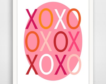 Children's Wall Art / Nursery Decor XO Love print by Finny and Zook