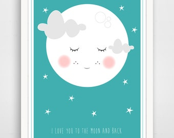 i love you to the moon and back print, to the moon print, nursery print, wall art, i love you print