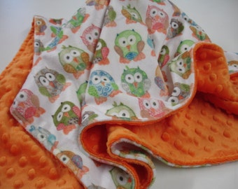 Short Legged Owls in Multi Double Sided Minky Baby Blanket MADE TO ORDER