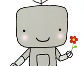 Robot Illustration Print Geek Home Wall Decor Smile Cute Robot Nursery Art Print Kids Room Decor Illustration Soft Grey Pastel Gray Nerd Art