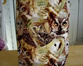 Knitting Supplies, Knitting Bag, Project Bag, drawstring bag, bag - Knitting Project Bag - KIP bag -  tall size A - 4 OWLS