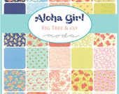 ALOHA GIRL - Moda Fabric Charm Pack - Five Inch Quilt Squares Quilting Material Blocks