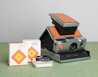 SX-70 Brown Leather Silver Clean Tested and Working with Accessories
