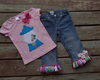 BUBBLEGUM Custom Tee and  RIBBON FRINGE denim skirt/ jeans/ shorts/ capris set sizes 0-3-6-9-12-18-24 mth-2-3-4-5-6-7-8