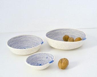 Fabric coiled bowl, Set of plates, Cotton rope bowls, Coastal decor Key holder, Cotton basket Wedding gifts, Nursery baskets, Desk organiser