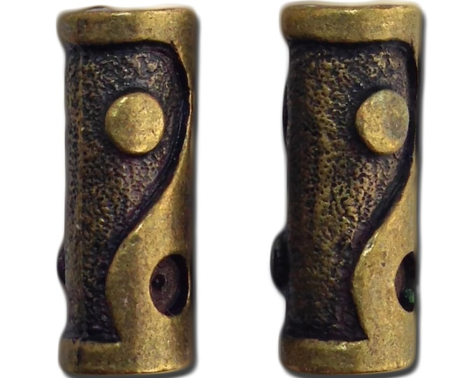 Bronze Plated Ying Yang Tube Beads 18x6mm (2) gyb035A