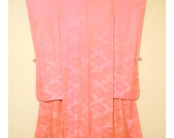 Pretty in Pink - Vintage Japanese Iromuji Furisode Formal Crested Women's Silk Kimono Wedding
