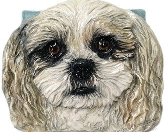 Shih Tzu Dog Tile CERAMIC Portrait Sculpture 3d Art Tile Plaque FUNCTIONAL ART by Sondra Alexander In Stock