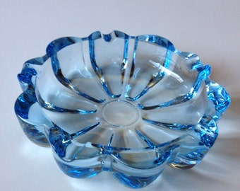 Ash Tray,Lovely Aqua Blue Ash Tray/Candy Dish,  Heavy Vintage Ash Tray/Candy Dish, Free Shipping