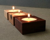 Tea Light Holders, Rustic Wood Home Decor, Reclaimed Wood Spa, Bathroom, Dining Room Accent Candle Décor with White Tea Lights