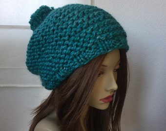 Super Chunky Knit Beanie in Turquoise...
