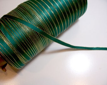 Green Ribbon, Green with Metallic Gold Edge Satin Ribbon 3/8 inch wide Double-Faced x 5 yards, Christmas Ribbon