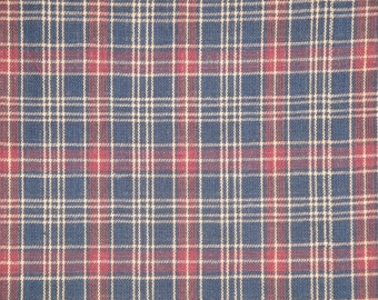 Homespun Material | Plaid Material | Navy Plaid Material | Old Glory Material | Woven Material | Cotton Material | 1/2 Yard