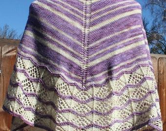 Hand Knit Beaded Lace Shawl - Lavender Wish I Might