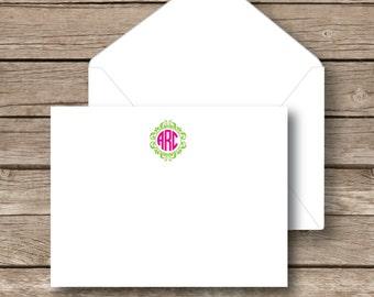 Personalized monogrammed flat notecards, monogram Stationery, circle monogram with frame, set of 10 with white envelopes
