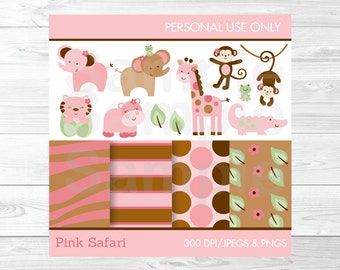 Cute Pink Jungle Animal Clipart / Jubgle Animal Digital Paper / Safari Animals / Pink Jungle Animals / Bbay Shower Clipart INSTANT DOWNLOAD