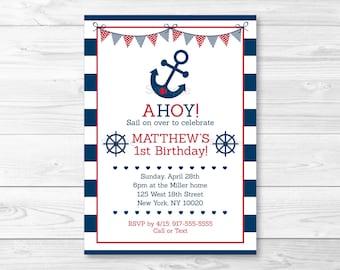 Cute Nautical Birthday Invitation / Nautical Birthday Invite / Anchor Birthday Invite / Nautical 1st Birthday / Navy Blue / PRINTABLE