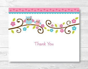 Pink Owl Thank You Card / Folded Card Template / Owl Baby Shower / PRINTABLE Instant Download