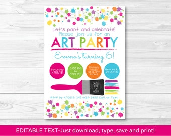 Art Party Birthday Invitation / Rainbow Art Party / INSTANT DOWNLOAD Editable PDF