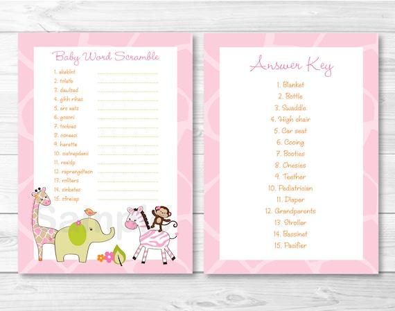 Pink Jungle Animal Word Scramble Game / Jungle Animal Baby