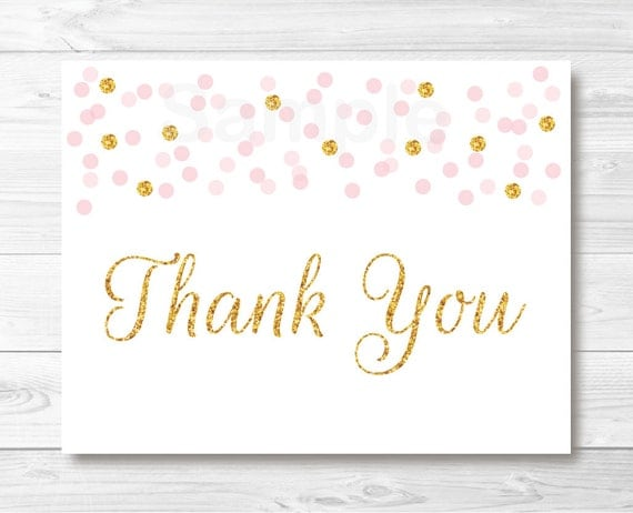 Pink & Gold Glitter Confetti Folded Thank You Card ...