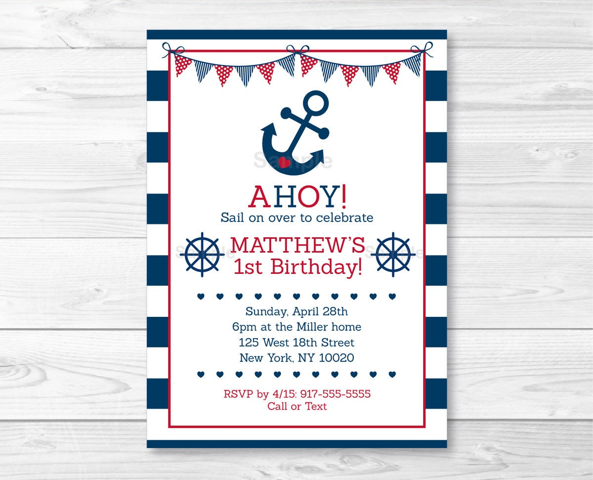 Cute Nautical Birthday Invitation / Nautical Birthday Invite ...