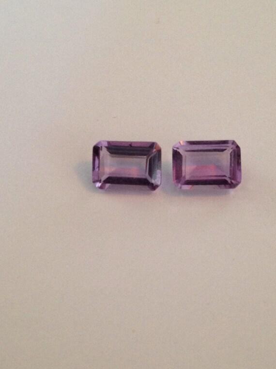 0.75 Ct Emerald Cut Amethyst Octagonal Pair (3.25mm x 5mm x 7mm) (1.5 ct total)