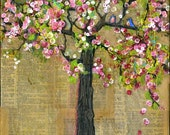 Art Print of Bluebirds of Happiness in a Tree with  Cherry Blossoms, Love Birds, Various Sizes,