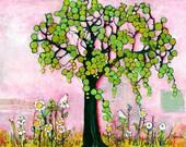 Limited Edition Print Three Little Birds, Pink Artwork, Fine Art, Tree of Life Wall Art, Inspirational Mixed Media