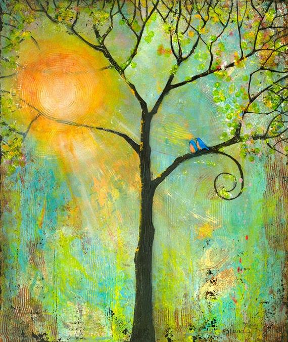 Inspirational Prints Sunshine, Wall Art, Tree 13X19 Bluebirds Romance, Wall Decor, Love Birds, Fresh Trends