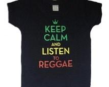 Keep Calm and Listen to Reggae Black Slub Burnout Infant Tee
