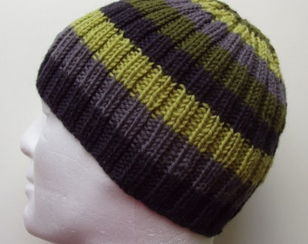 KNITTING PATTERN/FINN  Mans Striped Ribbed Hat/Knit Straight/ Mans Stripe Hat Pattern/Aran Worsted Ribbed Beanie/ Woolen Hat/Mans Winter Hat