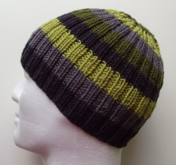 Knitting Patterns For Beanies With Straight Needles : KNITTING PATTERN/FINN Mans Striped Ribbed Hat/Knit Straight/