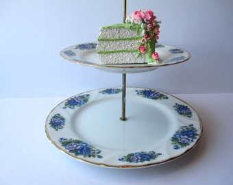 Vintage Robinson English Garden Floral Two Tiered Serving Platter
