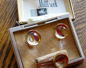 Vintage Mid Century Modern Cuff Links Tie Clips Millbrook Never Been Used Fishing Hooks Lures in cased in a Clear Resin Original Case
