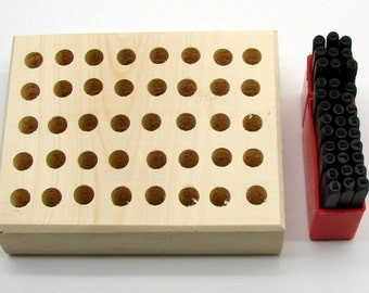 """3/32"""" (2.5mm) Letter & Number Stamping 36 Piece Set And Stamp Storage Block"""