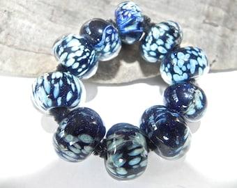 Ten Hand Made, Borosilicate Glass Beads, Dark and LIght  Blue by Misty Creek Studio, Artist Terry Sieber