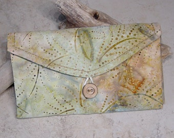 Travel Jewelry Organizer,Travel Gift, Travel Pocket Wallet,Clear Pocket Jewelry Organizer,Batik Print Olive GreenFabric,Jewelry Storage