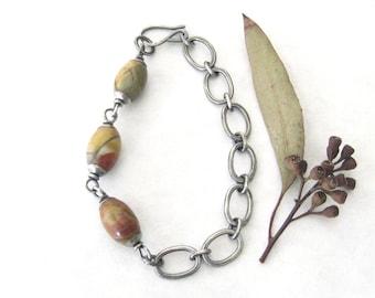 metalwork bracelet, silver and jasper bracelet, oxidized jewelry, rustic link bracelet,