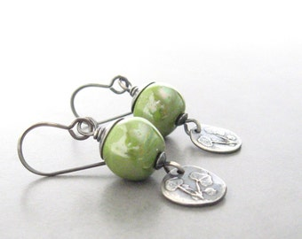 green kazuri earrings, botanical silver earrings, silver jewelry, oxidized silver dangle earrings