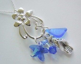 Necklace Blue Sea Glass Floral Starfish Seaglass Pendant Beach Jewelry Beachglass Necklace