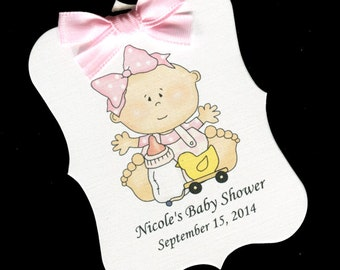 Baby Shower Favor Tags - Baby Shower Tags - Baby Girl - Personalized Tags - Baby Girl With Ducky Toy - Large Tags - Party Favor Tags - 25