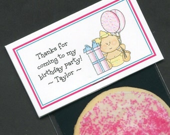Girls First Birthday Party Favors - Favor Bag - Bag Labels - Goody Bag - Treat Bag - Candy Bag - Personalized Label - Baby Girl - Pink