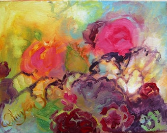 """Abstract Floral Painting in Acrylic, Garden Flowers at Sunrise, Original, Expressionist, 11"""" x 14"""""""