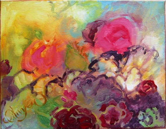 Abstract Floral Painting In Acrylic Garden Flowers At