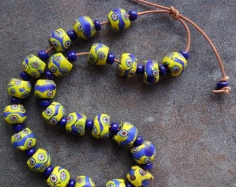 Vibrant Uncommon Old Deco-era Millefiori Beads from the African Trade
